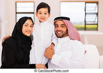casa, musulmano, famiglia, rilassante