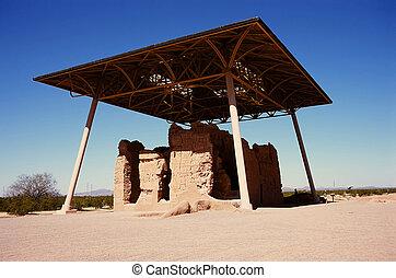casa, nacional, ruinas, grande, monumento