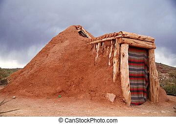 casa, -navajo, indio, hogan, nativo