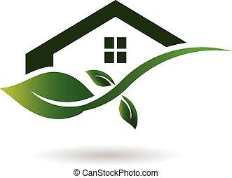 casa, negócio verde, logotipo
