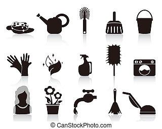 casa, negro, iconos