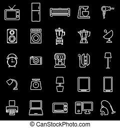 casa, negro, línea, plano de fondo, iconos