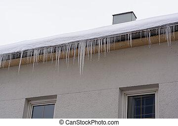 casa, neve, telhado, icicles