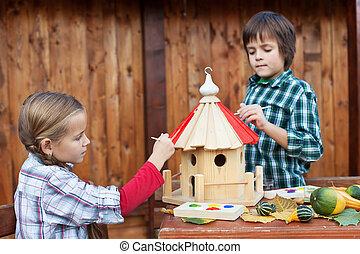 casa, niños, pintura, invierno, pájaro