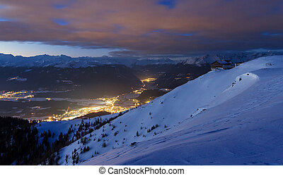 casa, notte, montagna