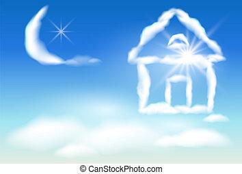 casa, nube cielo