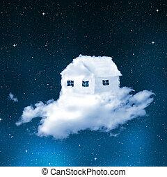 casa, nubes