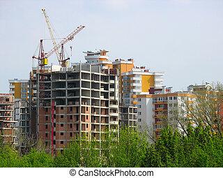casa nueva, construcción, vista, con, grúas