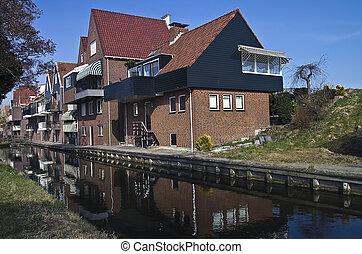 casa nueva, en, el, holandés, village.