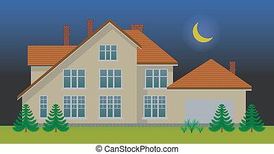 casa, nueva familia, noche