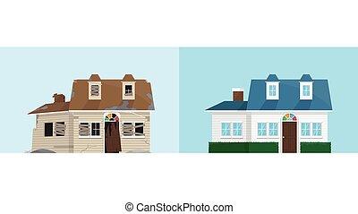 casa nueva, viejo, abandonado, renovación