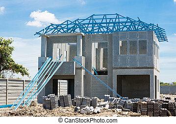 casa nuova, costruzione, usando, acciaio, cornici, contro, nuvoloso, sk