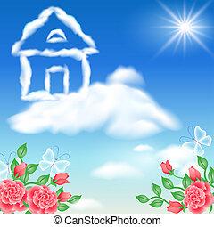 casa, nuvem céu