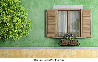 casa, olla, flor, árbol viejo