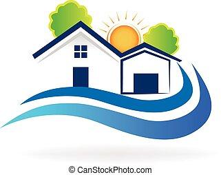 casa, ondas, logotipo, vetorial