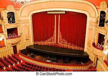 casa opera, interno, -, palcoscenico