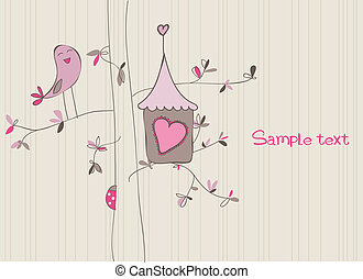 casa, pájaro, tarjeta