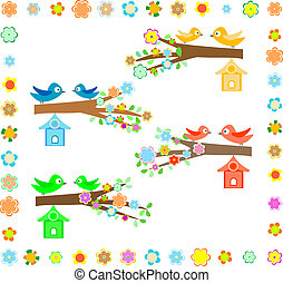 casa pássaro, uma filial, de, um, floresça árvore