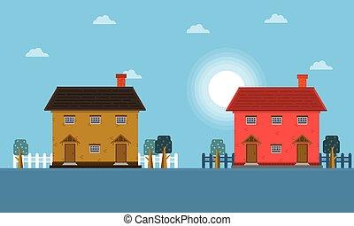 casa, paesaggio, mattina