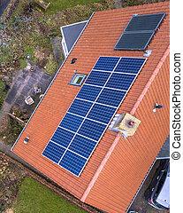 casa, painéis, solar, telhado