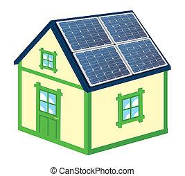 casa, painéis, solar