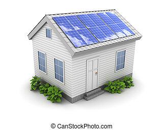 casa, painel solar