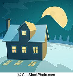 casa, paisagem inverno