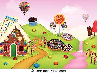 casa, pan de jengibre, candyland