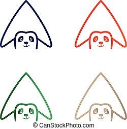 casa, panda, logotipo