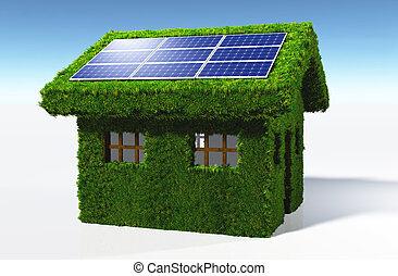 casa, paneles, herboso, solar