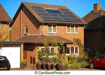 casa, paneles, solar