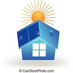 casa, paneles, solar, techo, logotipo