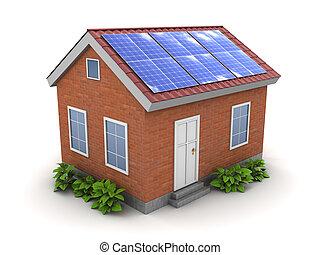 casa, pannello solare