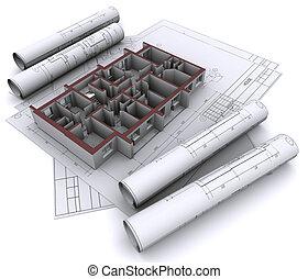 casa, paredes, construcción, construido, dibujos