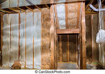 casa, paredes, sitio, termal, construcción, sótano, aislamiento
