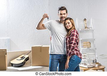 casa, pareja, actuación, llave, atractivo