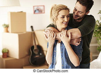 casa, pareja hugging, nuevo