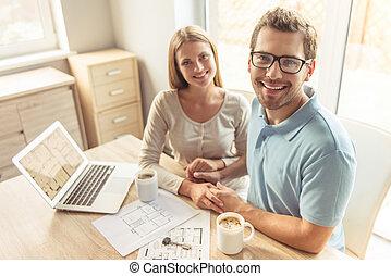 casa, pareja, planificación