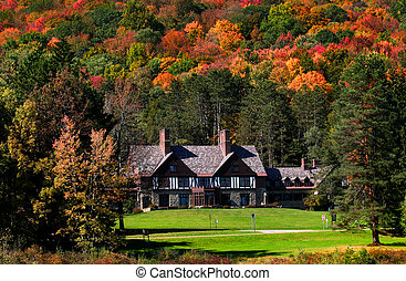 casa, parque estado, allegheny, vermelho
