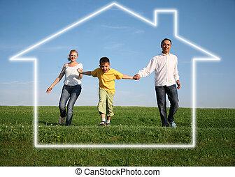 casa, pasto o césped, sueño, familia , sky.