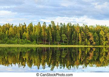 casa, paz, lago, mente, madeiras, lugar, bote