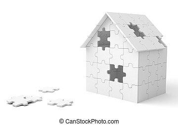 casa, pedazos, construido, rompecabezas, afuera