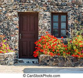 casa, pedra, flores, geranium, grego