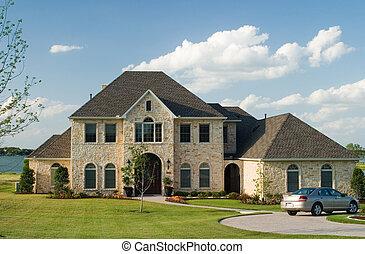 casa, pedra, lago