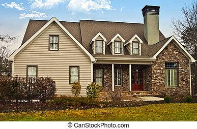 casa, pedra, madeira, modernos