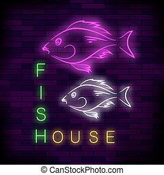 casa, peixe, néon, coloridos, sinal