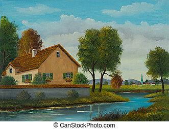 casa pequeña, río, aldea