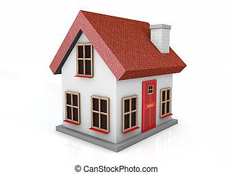 casa pequeña, render, 3d