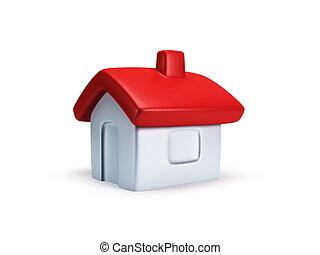 casa pequeña, simbólico, render, 3d
