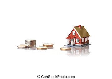 casa pequeña, y, monedas.